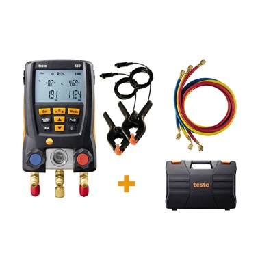 Manifold Digital Testo 550 com Bluetooth® e conjunto de 3 mangueiras